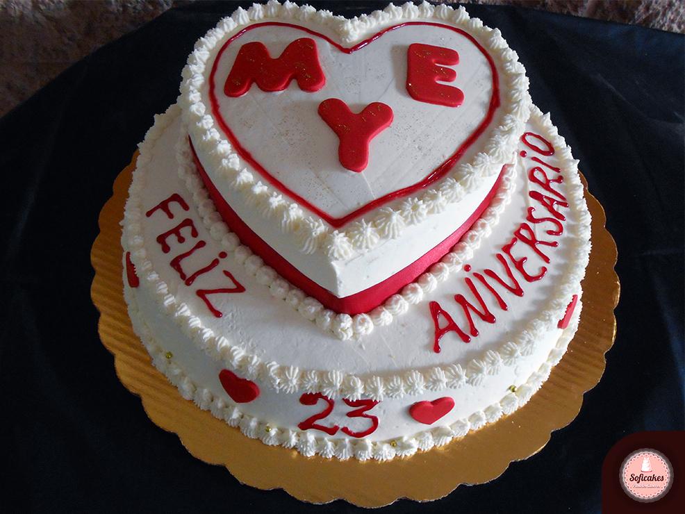 Pastel 23 Aniversario De Cerezas Con Nuez